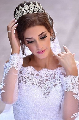 Lace Long Sleeve Wedding Dresses Off-the-shoulder A-line Bridal Gowns_3
