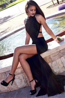 Side-Slit High Black Cutaway-Sides Sexy Backless Neck Mermaid Prom Dresses_2