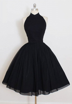 Modern Black High Neck Sleeveless Custom Made A-line Sexy Short Homecoming Dresses_1