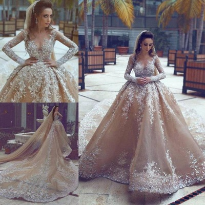 Sparkling Appliques Champagne Ball Gown Wedding Dresses |Luxurious Beads Sequins Long Sleeve Bridal Gowns_4