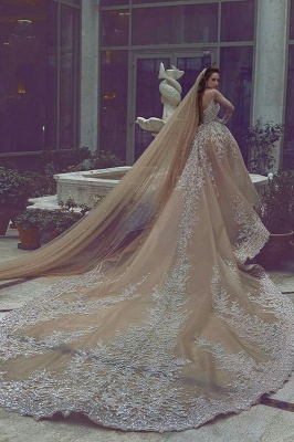 Sparkling Appliques Champagne Ball Gown Wedding Dresses |Luxurious Beads Sequins Long Sleeve Bridal Gowns_3