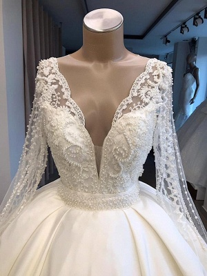 V-neck Long Sleeve Ball Gown Wedding Dress 2019 | Satin Beaded Lace Luxury Bridal Gowns Online_3