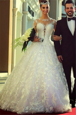 Long Sleeve Ball Gown Wedding Dress Cheap Court Train Custom Made Bridal Gowns_3