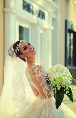 Long Sleeve Ball Gown Wedding Dress Cheap Court Train Custom Made Bridal Gowns_4