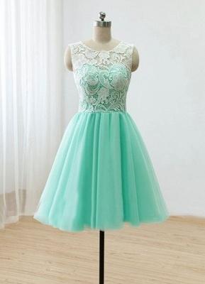 Short Lace Homecoming Dresses Sheer Buttons Back Elegant Mint Prom Dresses_2