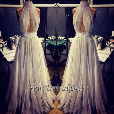 Custom Made A-line Tulle High Neck New Arrival Sleeveless Prom Dresses Cheap_1