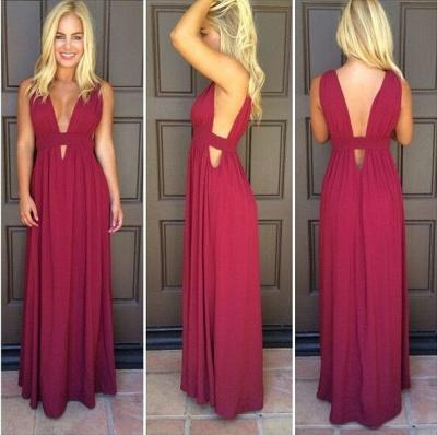 Burgundy Chiffon Deep V Neck Prom Dresses Simple Side Cut Floor Length Formal Evening Gowns_2