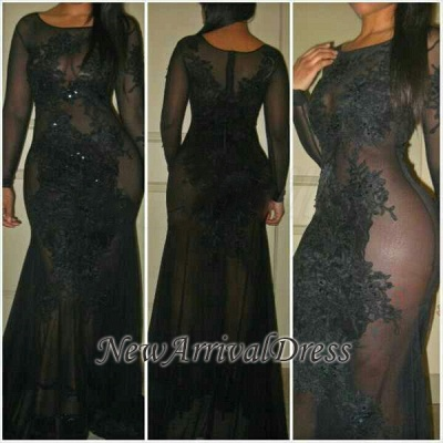 See-Through Sexy Mermaid Long-Sleeves Black Evening Dresses   Plus Size Prom Dress_1