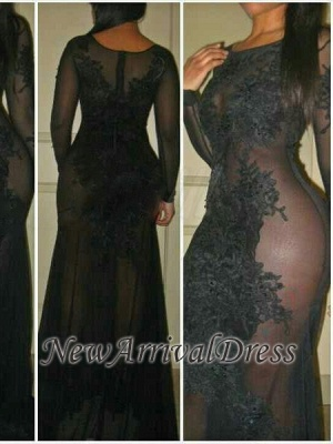 See-Through Sexy Mermaid Long-Sleeves Black Evening Dresses   Plus Size Prom Dress_3
