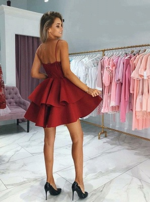 Classic Layers Homecoming Dresses  Spaghetti Straps Lace Cocktail Dresses with Appliques_3