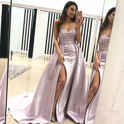 Gorgeous Sweetheart Evening Dress | 2019 Lace Appliques Prom Dress With Slit BA9853_3
