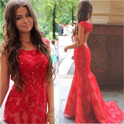 Red Lace Halter Mermaid Evening Dress Latest Backless Sweep Train Formal Occasion Dresses_1