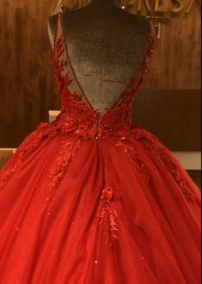 Red Straps Sleeveless Ball Gown Appliques Open Back Prom Dresses with Beading_5