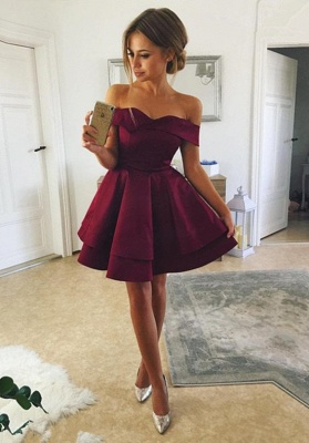 Cute Off-the-shoulder Deep Burgundy Homecoming Dress | Short Party Gown_1