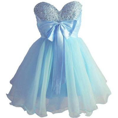 Sky Blue Beaded Short Homecoming Dresses Bowknot Mini Party Dresses_1