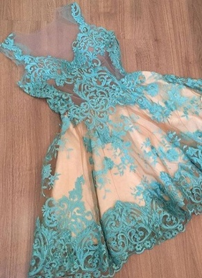 Classic Sexy Short Homecoming Dresses Lace V-Neck Sleeveless Cocktail Dresses_1