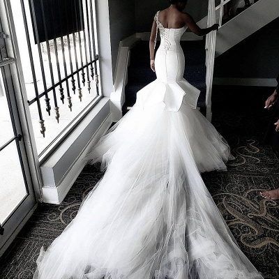 One Shoulder Sheer Tulle Cheap Wedding Dresses | Shiny Appliques Ruffles Bridal Gowns Online_4