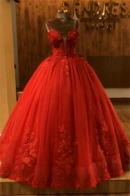 Red Straps Sleeveless Ball Gown Appliques Open Back Prom Dresses with Beading_2