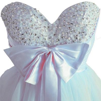 Sky Blue Beaded Short Homecoming Dresses Bowknot Mini Party Dresses_2