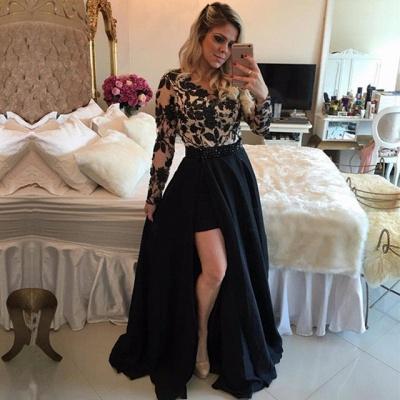 Sexy Black Long Sleeve Evening Dress | 2019 Lace Prom Dress On Sale_3