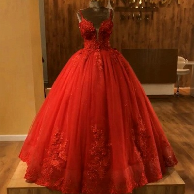 Red Straps Sleeveless Ball Gown Appliques Open Back Prom Dresses with Beading_6