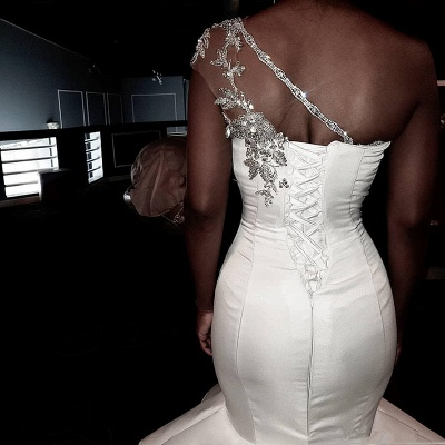 One Shoulder Sheer Tulle Cheap Wedding Dresses | Shiny Appliques Ruffles Bridal Gowns Online_3
