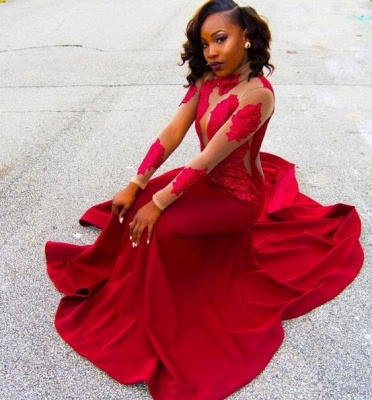 Red Lace Appliques Long-Sleeve High-Neck Sheath Poprlar Prom Dress_3