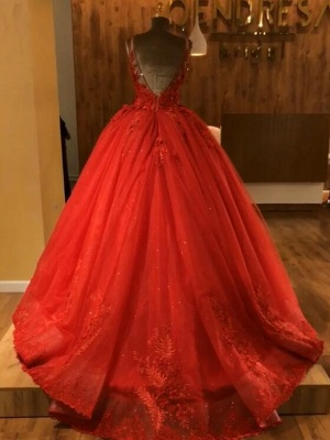 Red Straps Sleeveless Ball Gown Appliques Open Back Prom Dresses with Beading_3