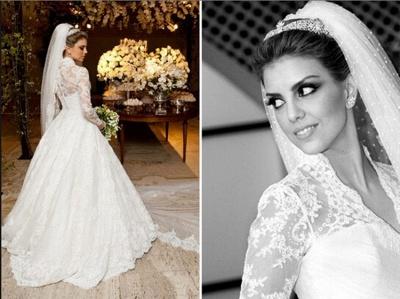 Vestidos De Noiva Long Sleeve Wedding Dresses Cheap | High Neck Vintage Lace A Line Bridal Gowns BO3590_4