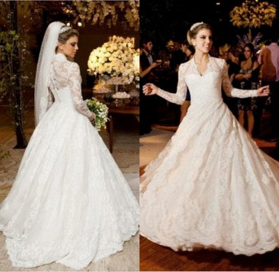 Vestidos De Noiva Long Sleeve Wedding Dresses Cheap | High Neck Vintage Lace A Line Bridal Gowns BO3590_2