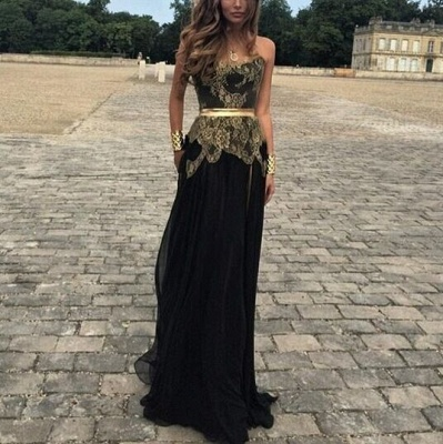 Gold Lace Applique Black Chiffon Prom Dresses Side Slit Golden Belt New Sexy Evening Gowns_2