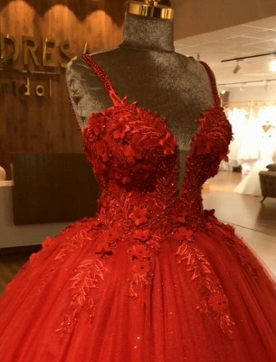 Red Straps Sleeveless Ball Gown Appliques Open Back Prom Dresses with Beading_4