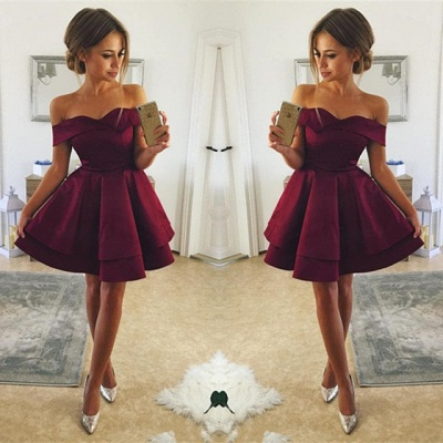 Cute Off-the-shoulder Deep Burgundy Homecoming Dress | Short Party Gown_3