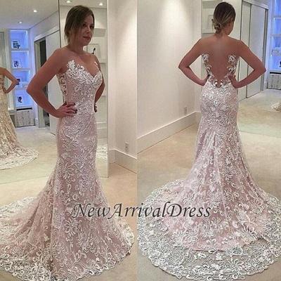 See Through Tulle Mermaid Sleeveless Court Train Custom Made Wedding Dress Cheap_1