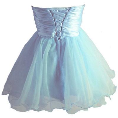 Sky Blue Beaded Short Homecoming Dresses Bowknot Mini Party Dresses_3