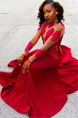 Red Lace Appliques Long-Sleeve High-Neck Sheath Poprlar Prom Dress_2