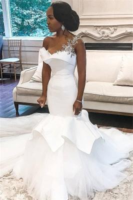 Vestidos de novia baratos de tul transparente de un hombro | Apliques Brillantes Volantes Vestidos De Novia online_1