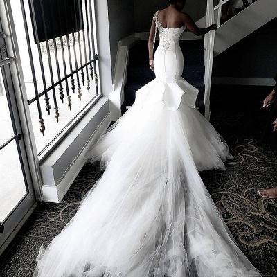Vestidos de novia baratos de tul transparente de un hombro | Apliques Brillantes Volantes Vestidos De Novia online_4