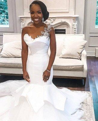 Vestidos de novia baratos de tul transparente de un hombro | Apliques Brillantes Volantes Vestidos De Novia online_2