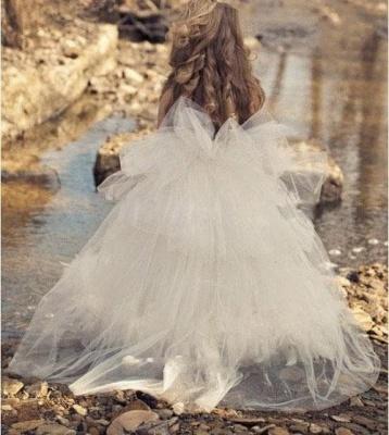 Spaghettis Tulle Feathers Cute Flower Girl Dresses Long Girl's Formal Dresses_3