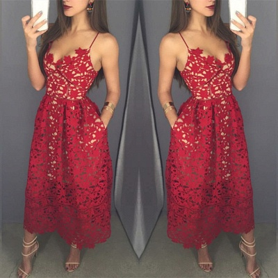 Sexy Red Lace Mini Cocktail DressSpaghetti Strap Sleeveless A-line BA3376_3