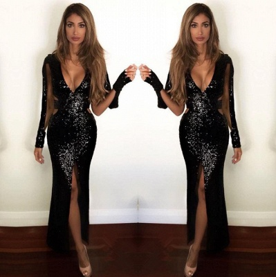 Sexy Front Split Black Sequined Prom Dress | Long Sleeve Prom Dress_3
