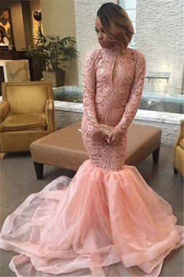 Keyhole Pink High-Neck Sexy Long-Sleeve Tulle Mermaid Prom Dress_2