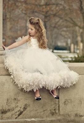 Spaghettis Tulle Feathers Cute Flower Girl Dresses Long Girl's Formal Dresses_2