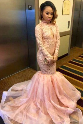 Keyhole Pink High-Neck Sexy Long-Sleeve Tulle Mermaid Prom Dress_3