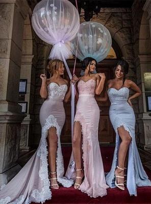 Sexy Sweetheart Appliques Mermaid Side-Slit Bridesmaid Dress_1