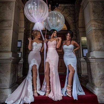 Sexy Sweetheart Appliques Mermaid Side-Slit Bridesmaid Dress_2