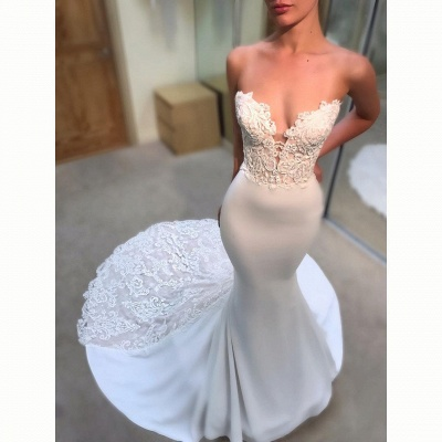 Simple Lace Appliques Mermaid Wedding Dresses | Sexy Sleeveless Long Court Train Bridal Gowns_3