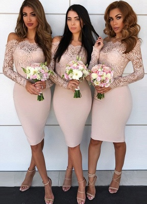 Newest Lace Off-the-shoulder Bodycon Bridesmaid Dress | Knee-length Bridesmaid Dress_1