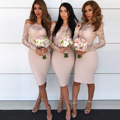 Newest Lace Off-the-shoulder Bodycon Bridesmaid Dress | Knee-length Bridesmaid Dress_3